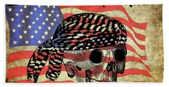 Biker Skull American Flag Old Paper Art Bath Towel