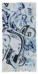 Bikes And Blue Cities Bath Towel