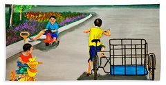 Hand Towel featuring the painting Bikes by Cyril Maza