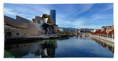 Bilbao In Autumn With Blue Skies Next To The River Nervion Bath Towel