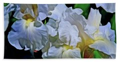 Hand Towel featuring the mixed media Billowing White Irises by Lynda Lehmann