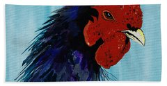 Bath Towel featuring the painting Billy Boy The Rooster by Janice Rae Pariza