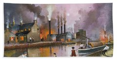 Hand Towel featuring the painting Bilston Steelworks by Ken Wood