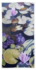 Hand Towel featuring the painting Biltmore Lilypads by Robert Decker