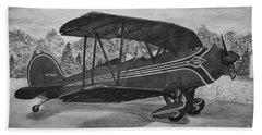 Biplane In Black And White Bath Sheet by Megan Cohen