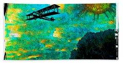 Hand Towel featuring the digital art Biplane by Iowan Stone-Flowers
