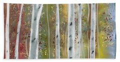 Hand Towel featuring the digital art Birch Forest by Paula Brown