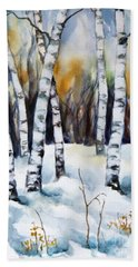 Bath Towel featuring the painting The White Of Winter Birch by Inese Poga