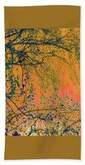 Birch Tree And Orange Sky - Winter Hand Towel