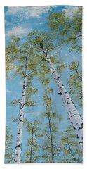Birch Trees And Sky Bath Towel