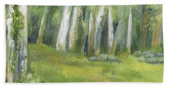 Birch Trees And Spring Field Hand Towel