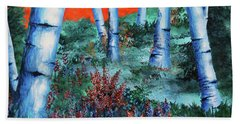 Birch Trees At Sunset Hand Towel