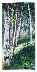 Birch Trees Bath Towel