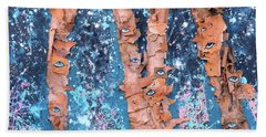 Hand Towel featuring the mixed media Birch Trees With Eyes by Genevieve Esson