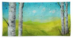 Birches In Green Hand Towel