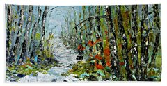 Bath Towel featuring the painting Birches Near Waterfall by AmaS Art