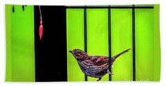 Bird And Red Fuchsia Flower Bath Towel
