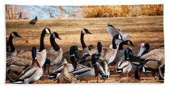 Hand Towel featuring the photograph Bird Gang Wars by Sumoflam Photography