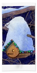 Bird House Christmas Bath Towel