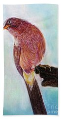 Bath Towel featuring the painting Bird by Jasna Dragun