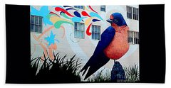 San Francisco Blue Bird Painting Mural In California Bath Towel