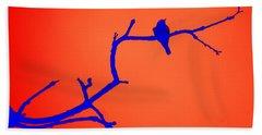 Bird On A Branch At Sunset Bath Towel