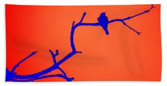 Bird On A Branch At Sunset Bath Towel
