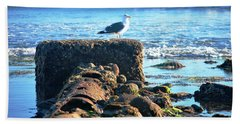 Bird On Perch At Beach Hand Towel