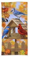 Bird Painting - Autumn Aquaintances Hand Towel