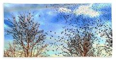 Bird Swarms Versus Hawks On The Prairie Hand Towel