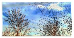 Bird Swarms Versus Hawks On The Prairie Bath Towel