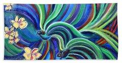 Bird Symphony With Frangipani Bath Towel