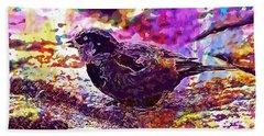 Hand Towel featuring the digital art Bird The Sparrow Nature Pen  by PixBreak Art