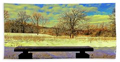 Bird Watchers Bench Winter Crabtree Nature Center Cook County Il Bath Towel