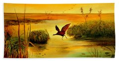 Hand Towel featuring the painting Bird Water by Henryk Gorecki
