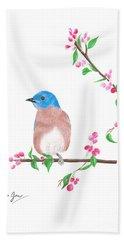 Minimal Bird And Cherry Flowers Hand Towel