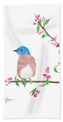 Minimal Bird And Cherry Flowers Bath Towel