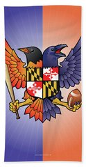 Birdland Baltimore Raven And Oriole Maryland Crest Hand Towel