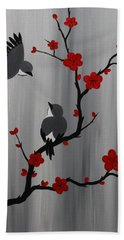 Birds And Blooms In Red Bath Towel
