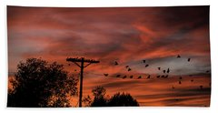 Birds And Sunset Bath Towel