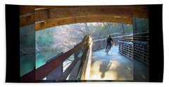 Birds Boaters And Bridges Of Barton Springs - Bridges One Greeting Card Poster V2 Hand Towel by Felipe Adan Lerma