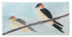 Birds Couple Bath Towel by Keshava Shukla