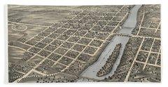 Bird's Eye View Of Geneva, Kane County, Illinois 1869 Hand Towel