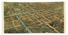 Bird's Eye View Of Massillon, Stark County, Ohio 1870 Hand Towel