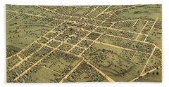 Bird's Eye View Of The City Of Huntsville, Madison County, Alabama 1871 Hand Towel