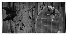 Birds Gone Wild In Black And White Bath Towel by Suzanne Powers