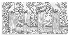 Birds In Flower Garden Coloring Page Hand Towel