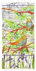 Hand Towel featuring the painting Bluebirds Nature Collage by Cathie Richardson