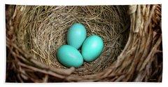 Birds Nest American Robin Hand Towel