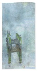 Hand Towel featuring the digital art Birds On Abandoned Dock by Randy Steele